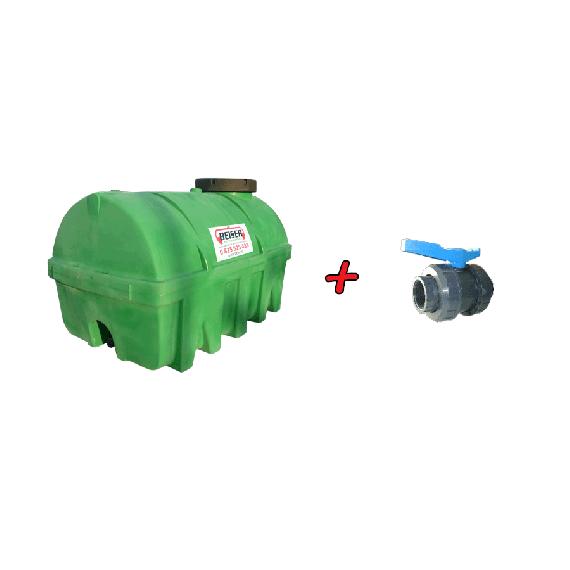 Grüner PEHD-Tank 5 000 L + 2'' Kunststoff Ventill