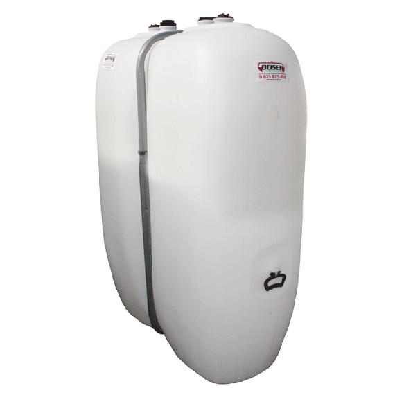 Weißer PEHD-Tank für Treib-/Brennstoff 1000  Liter mit Metall-Versteifungen
