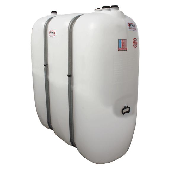 Weißer PEHD-Tank für Treib-/Brennstoff 1600  Liter mit Metall-Versteifungen
