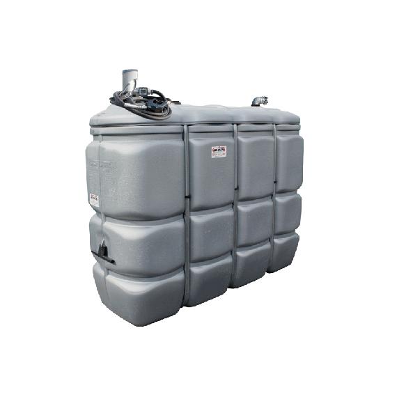 Geruchfreie doppelwandiger PEHD-Tankanlage für Treibstoff GRAU, 2000 Liter