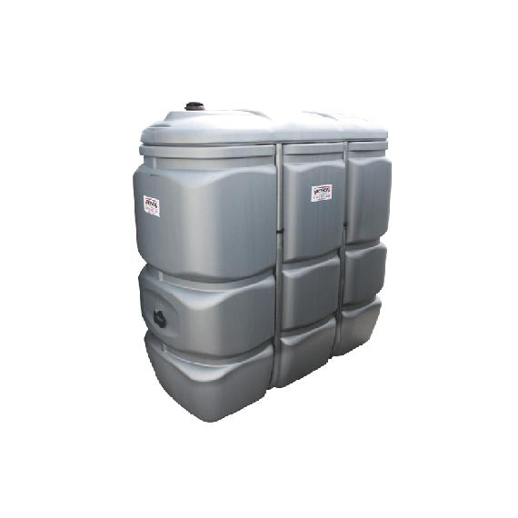 Geruchloser doppelwandiger PEHD-Tank für Treib-/Brennstoff, 1500 Liter - GRAU