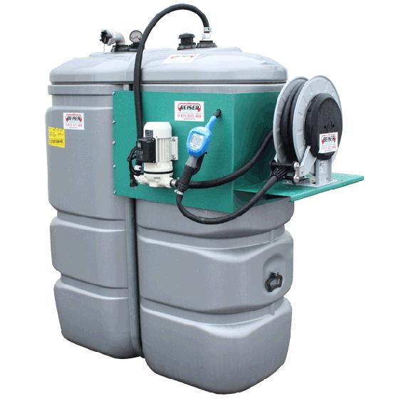 Tankanlage B-blue Doppelwand aus Polyethylen Ohne Geruch 1000 L mit Aufrollvorrichtung
