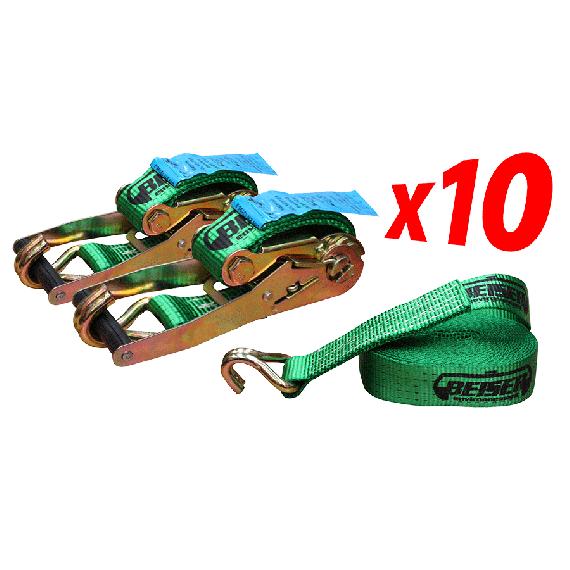 Ratschenspanngurt 10 m - 5 Tonnen (Satz 10 Stück)