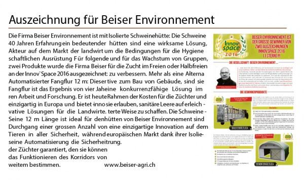 Auszeichnung für Beiser Environnement